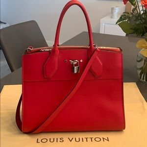 Louis Vuitton Veau Satin City Steamer MM Rubis
